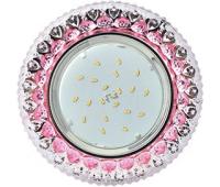"""Ecola GX53 H4 LD7009 Светильник встр. искристый с подсветкой """"Кристалл"""" Прозрачный и Розовый / Хром 40x125 (к+) Solnechnogorsk"""