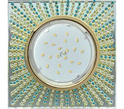 Ecola GX53 H4 Glass Квадрат с прозр. и бирюз.страз. (оправа золото)фон зерк./центр золото 40x123х123 Solnechnogorsk