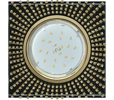 Ecola GX53 H4 Glass Квадрат с прозр. страз. (оправа золото) фон черн./центр золото 40x123х123 Solnechnogorsk