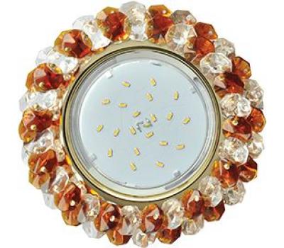 Ecola GX53 H4 Glass Круглый с хрусталиками прозрачный и янтарь/ золото 56x120 Solnechnogorsk
