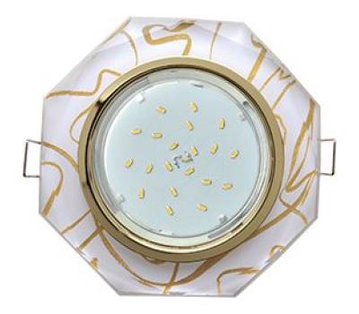 Ecola GX53 H4 Glass Стекло 8-угольник с прямыми гранями золото - золото на белом 38x133 Solnechnogorsk