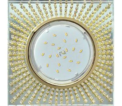 Ecola GX53 H4 Glass Квадрат с прозр. страз. (оправа золото) фон зерк./центр золото 40x123х123 Solnechnogorsk