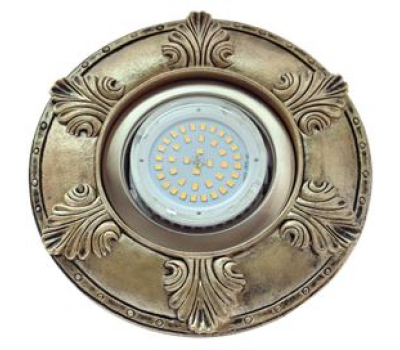 """Ecola накладка широкая гипсовая """"листья"""" для встр. свет-ка GX53 H4 черненая бронза 19х195 Solnechnogorsk"""