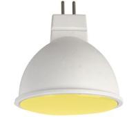 Ecola MR16   LED color  7,0W  220V GU5.3 Yellow Желтый матовое стекло (композит) 47х50 Solnechnogorsk