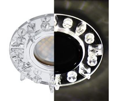 Ecola MR16 LD1661 GU5.3 Glass Стекло Круг с квадратными прозрачными стразами с подсветкой/фон зерк./центр.часть хром 42x95 Solnechnogorsk