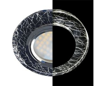 Ecola MR16 LD1650 GU5.3 Glass Стекло с подсветкой Круг Колотый лед на черном / Хром 25x95 (кd74) Solnechnogorsk