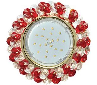 Ecola GX53 H4 Glass Круглый с хрусталиками прозрачный и рубин/ золото 56x120 Solnechnogorsk