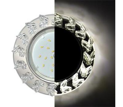 Ecola GX53 H4 LD5361 Glass Круг с крупными  прозр. стразами Елочка с подсветкой/фон зерк./центр.часть хром 54x120 (к+) Solnechnogorsk