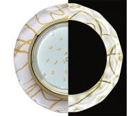 Ecola GX53 H4 LD5313 Glass Стекло Круг с вогнутыми гранями с подсветкой  золото - золото на белом 38x126 (к+) Solnechnogorsk