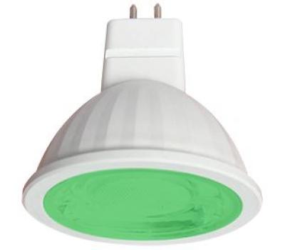 Ecola MR16   LED color  9,0W  220V GU5.3 Green Зеленый (насыщенный цвет) прозрачное стекло (композит) 47х50 Solnechnogorsk