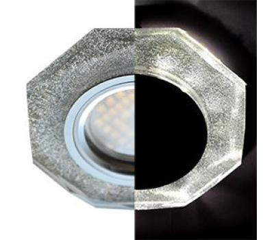 Ecola MR16 LD1652 GU5.3 Glass Стекло с подсветкой 8-угольник с прямыми гранями Серебряный блеск / Хром 25x90 (кd74) Solnechnogorsk