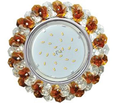 Ecola GX53 H4 Glass Круглый с хрусталиками прозрачный и янтарь/ хром 56x120 Solnechnogorsk