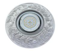 """Ecola накладка широкая гипсовая """"оливковый венок"""" для встр. свет-ка GX53 H4 серебро на белом 23х195 Solnechnogorsk"""