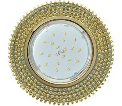 Ecola GX53 H4 Glass Круг с прозр.   страз. (оправа золото)/ фон зерк./центр  золото 40x120 Solnechnogorsk