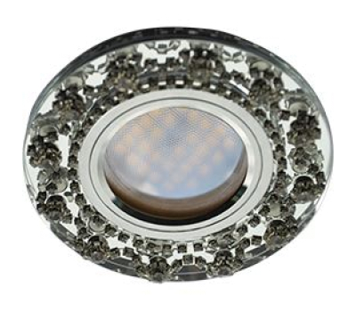 Ecola MR16 DL1660 GU5.3 Glass Стекло Круг с  прозрачными стразами Корона (оправа хром)/фон зерк./центр.часть хром 28x93 Solnechnogorsk