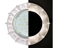 Ecola GX53 H4 LD5361 Glass Круг с квадр. матовыми стразами с подсветкой/фон матовый/центр.часть хром 52x120 (к+) Solnechnogorsk