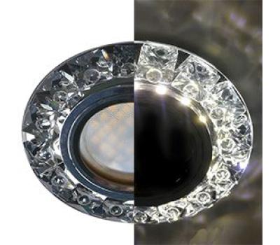 Ecola MR16 LD1661 GU5.3 Glass Стекло Круг с крупными прозр. стразами Конус с подсветкой/фон черн./цеентр.часть хром 38x95 Solnechnogorsk