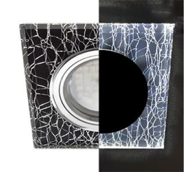 Ecola MR16 LD1651 GU5.3 Glass Стекло с подсветкой Квадрат скошенный край Колотый лед на черном / Хром 25x90x90 (кd74) Solnechnogorsk