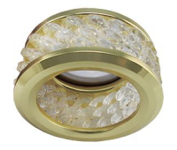 Ecola MR16 DL1655 GU5.3 встр. круглый с хруст.(3 ряда) и ободком - Прозрачный / Золото 63x85 Solnechnogorsk