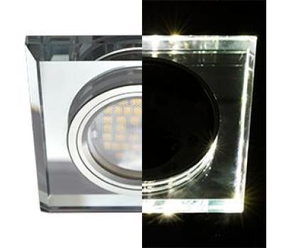 Ecola MR16 LD1651 GU5.3 Glass Стекло с подсветкой Квадрат скошенный край Хром / Хром 25x90x90 (кd74) Solnechnogorsk