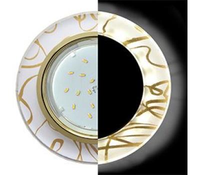 Ecola GX53 H4 LD5310 Glass Стекло Круг с подсветкой  золото - золото на белом 38x126 (к+) Solnechnogorsk