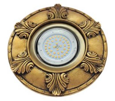 """Ecola накладка широкая гипсовая """"листья"""" для встр. свет-ка GX53 H4 черненое золото 19х195 Solnechnogorsk"""