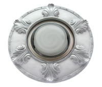 """Ecola накладка широкая гипсовая """"листья"""" для встр. свет-ка GX53 H4 серебро на белом 19х195 Solnechnogorsk"""