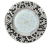 Ecola GX53 H4 5319 Glass Круг с  прозр.-черной мозаикой/фон зерк./центр.часть хром 40x123x123 (к+) Solnechnogorsk