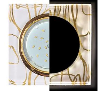 Ecola GX53 H4 LD5311 Glass Стекло Квадрат скошенный край с подсветкой  золото - золото на белом 38x120x120 (к+) Solnechnogorsk