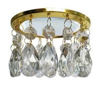 Ecola GX53 H4 5350 Glass Круг с каплевидными хруст. на прямом подвесе Прозрачный / Золото 102x105 (к+) Solnechnogorsk