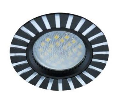 НОВИНКА!Светильник Ecola MR16 DL3183 GU5.3 встр. литой (скрытый крепёж лампы) Полоски по кругу Чёрный/Алюминий 23х78 Solnechnogorsk