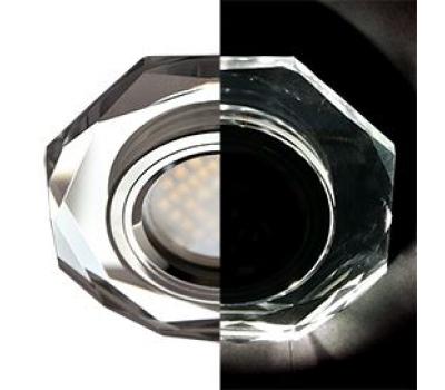 Ecola MR16 LD1652 GU5.3 Glass Стекло с подсветкой 8-угольник с прямыми гранями Хром / Хром 25x90 (кd74) Solnechnogorsk