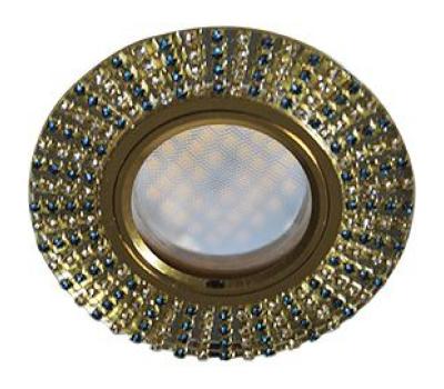 Ecola MR16 DL1662 GU5.3 Glass Стекло Круг с прозр.и бирюз. стразами (оправа золото)/фон зерк./центр.часть золото 25х93 Solnechnogorsk