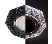 Ecola MR16 LD1652 GU5.3 Glass Стекло с подсветкой 8-угольник с прямыми гранями Колотый лед на черном / Хром 25x90 (кd74) Solnechnogorsk