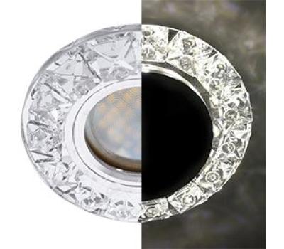 Ecola MR16 LD1661 GU5.3 Glass Стекло Круг с крупными прозр. стразами Конус с подсветкой/фон зерк./цеентр.часть хром 38x95 Solnechnogorsk