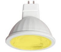 Ecola MR16   LED color  9,0W  220V GU5.3 Yellow Желтый (насыщенный цвет) прозрачное стекло (композит) 47х50 Solnechnogorsk
