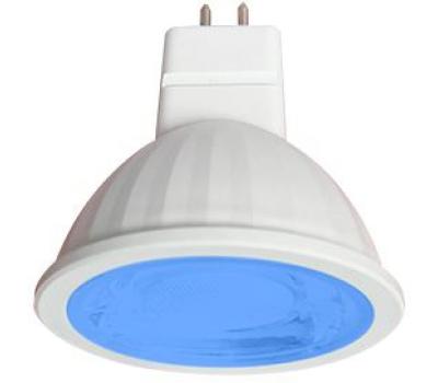 Ecola MR16   LED color  9,0W  220V GU5.3 Blue Синий (насыщенный цвет) прозрачное стекло (композит) 47х50 Solnechnogorsk