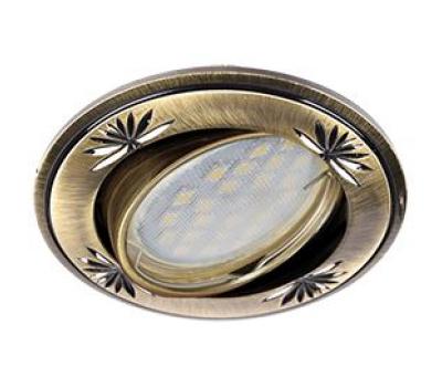 Ecola MR16 DL21 GU5.3 Светильник встр. литой поворотный искр.гравир. Четыре цветка Черненая бронза 23x84 Solnechnogorsk