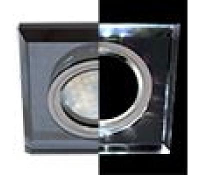 Ecola MR16 LD1651 GU5.3 Glass Стекло с подсветкой Квадрат скошенный край Черный / Черный хром 25x90x90 (кd74) Solnechnogorsk