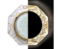 Ecola GX53 H4 LD5312 Glass Стекло 8-угольник с прямыми гранями с подсветкой  золото - золото на белом 38x133 (к+) Solnechnogorsk