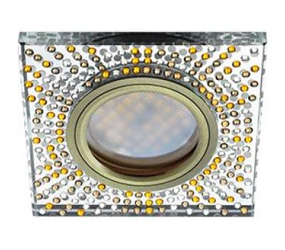 Ecola MR16 DL1658 GU5.3 Glass Стекло Квадрат с  прозр.-янтарной мозаикой/фон зерк../центр.часть черненая бронза 25x95x95 Solnechnogorsk