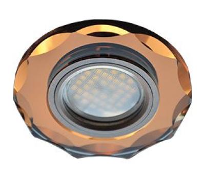 Ecola MR16 DL1653 GU5.3 Glass Стекло Круг с вогнутыми гранями Янтарь / Черненая медь 25x90 Solnechnogorsk