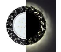 Ecola GX53 H4 LD5361 Glass Круг с крупными  прозр. стразами Елочка с подсветкой/фон черн./центр.часть хром 54x120 (к+) Solnechnogorsk
