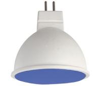 Ecola MR16   LED color  7,0W  220V GU5.3 Blue Синий матовое стекло (композит) 47х50 Solnechnogorsk