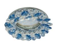 Светильник Ecola MR16 CD4141 GU5.3 встр. круглый с хрусталиками Прозрачный и Голубой/Хром 50x90 Solnechnogorsk