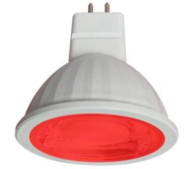 Ecola MR16   LED color  9,0W  220V GU5.3 Red Красный (насыщенный цвет) прозрачное стекло (композит) 47x50 Solnechnogorsk