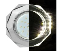 Ecola GX53 H4 LD5312 Glass Стекло 8-угольник с прямыми гранями с подсветкой  хром - хром (зеркальный) 38x133 (к+) Solnechnogorsk