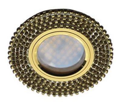 Ecola MR16 DL1662 GU5.3 Glass Стекло Круг с прозр.стразами (оправа золото)/фон зерк./центр.часть золото 25x93 Solnechnogorsk