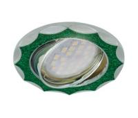 НОВИНКА!Светильник Ecola MR16 DL36 GU5.3 встр. литой поворотный Звезда под стеклом Изумрудный блеск/Хром 22х84 Solnechnogorsk