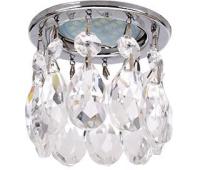 Ecola MR16 CR1006 GU5.3 Glass Стекло Круг с каплевидными хруст. на прямом подвесе Прозрачный / Хром 84x100 Solnechnogorsk